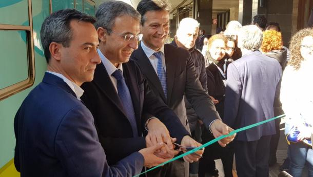 Immagine: Inaugurato il Treno Verde 2019 di Legambiente e Ferrovie dello Stato Italiane. Viaggio in 12 tappe, da Palermo a Milano, per una mobilità a zero emissioni
